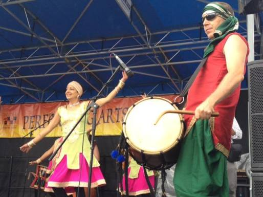 On stage at the Colorado Dragon Boat Festival where the Mudras play 10-12 performances every year. This is my favorite dancer, Neeti Pawar. She's also my wife.